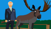 the animated comedy show lunki and sika - the swedish king kungen Carl XVI Gustaf with a shotgun next to an elk or moose