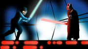 the animated comedy show lunki and sika - star wars spoof with sika as luke skywalker and lunki as darth vader in light saber fight