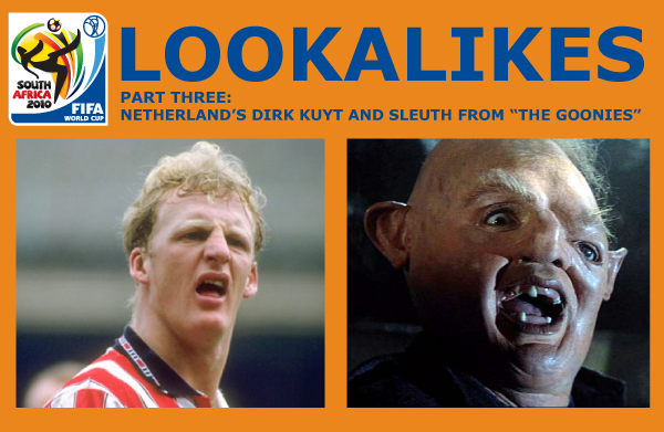 The animated comedy series and blog presents lookalikes of the world cup in south africa 2010 - iain ian dowie and sleuth from the goonies
