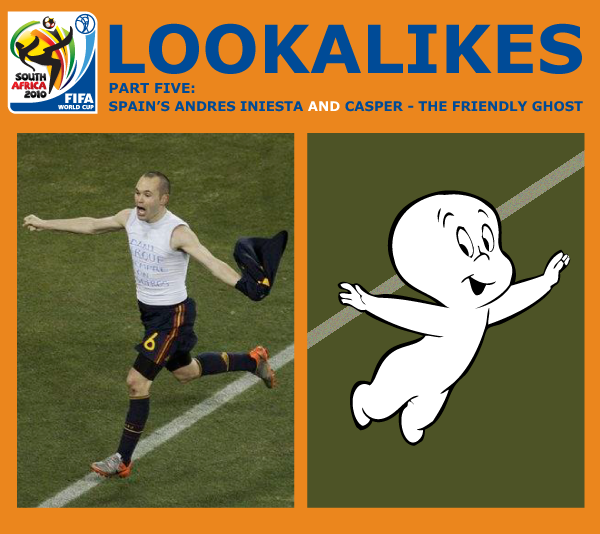 The animated comedy blog and web series lunki and sika presents another world cup 2010 in south africa lookalike - andres iniesta and casper the friendly ghost