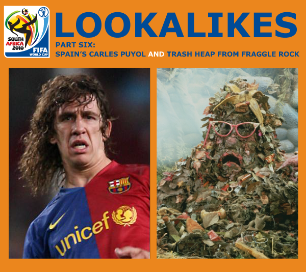 animated comedy blog and web series lunki and sika presents another 2010 world cup lookalike - carles puyol and trash heap from fraggle rock