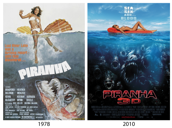 piranha 1978 and piranha 3D 2010 movie poster