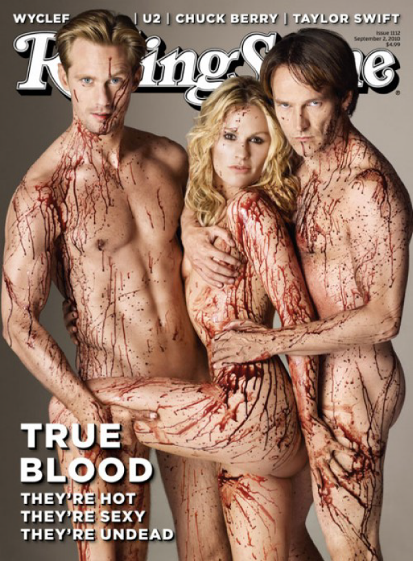 Alexander Skarsgard, Anna Paquin, Stephen Moyer from True Blood covered in blood on the cover of Rolling Stone