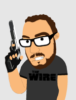 sika with a gun and the wire t-shirt dressed as vic mackey from the shield