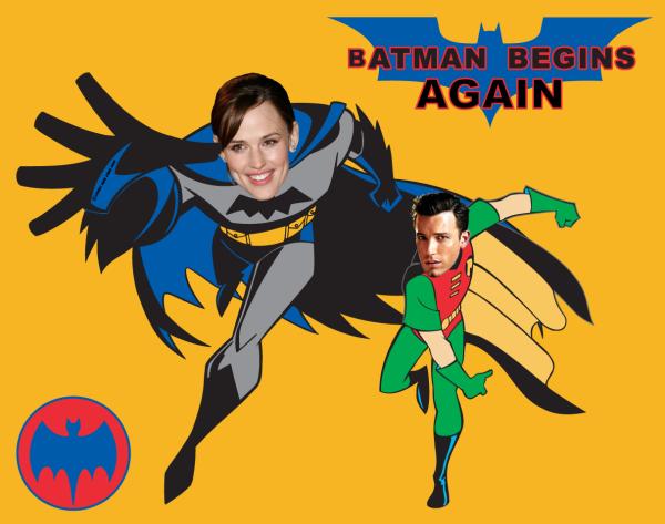 Jennifer Garner as Batman and Ben Affleck as Robin
