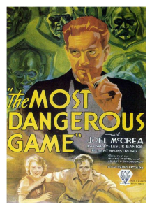 1932 movie The most dangerous game starring Fay Wray, Joel McCrea and Robert Armstrong-poster